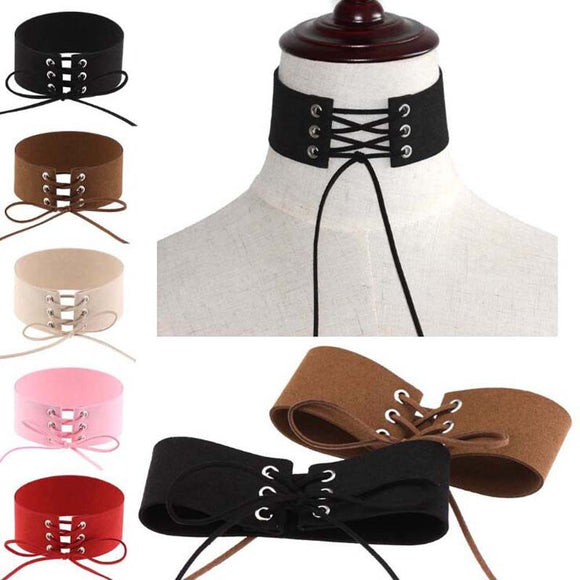 Lace-Up Punk Style Velvet Choker Necklace