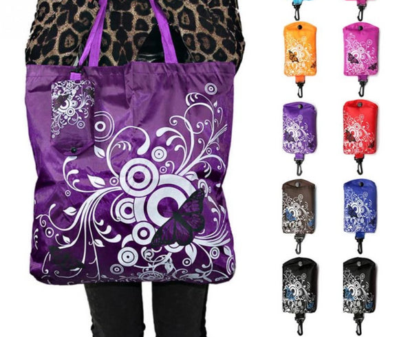 Foldable, Reusable Butterfly Print Shopping Bag Eco-Friendly Grocery Tote
