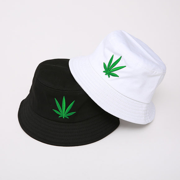 Marijuana Leaf Embroidered Cotton Bucket Hat