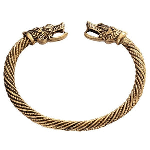 Viking Wolf Heads Twisted Cuff Bracelet