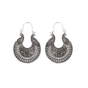 Bohemian Filigree Dangle Earrings in Silver [BOHO BAD]