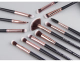 Pro Makeup Brush Set of 12 in Silver, Black or Pink