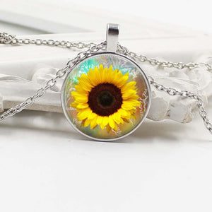 Suspended Sunflower Glass Cabochon Pendant Chain Necklace