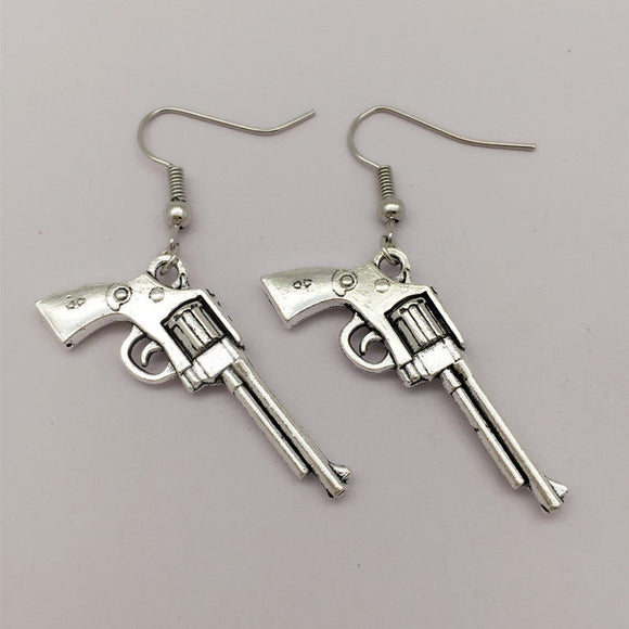 Revolver Dangle Gun Earrings