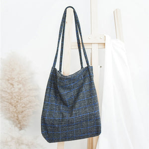 Vintage Plaid Design Wool & Cotton Canvas Shoulder Tote Bag