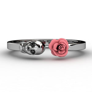 Skull and Rose Wrap Ring