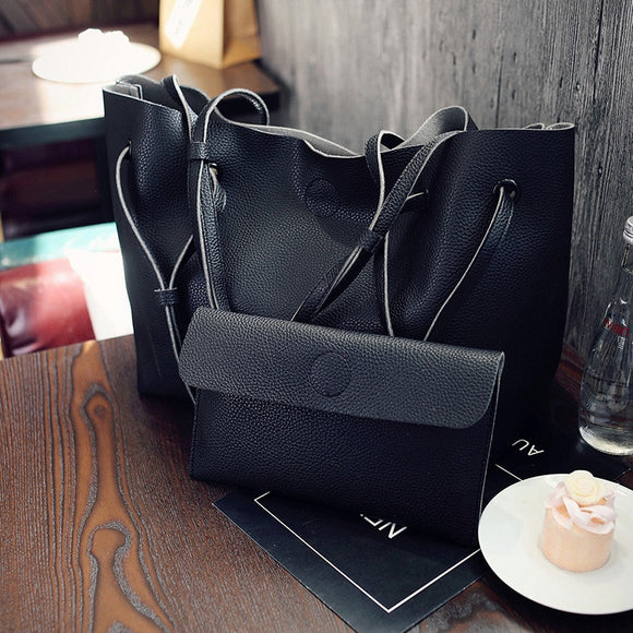 European Style Carry-all Shoulder Tote Bag and Wallet Set