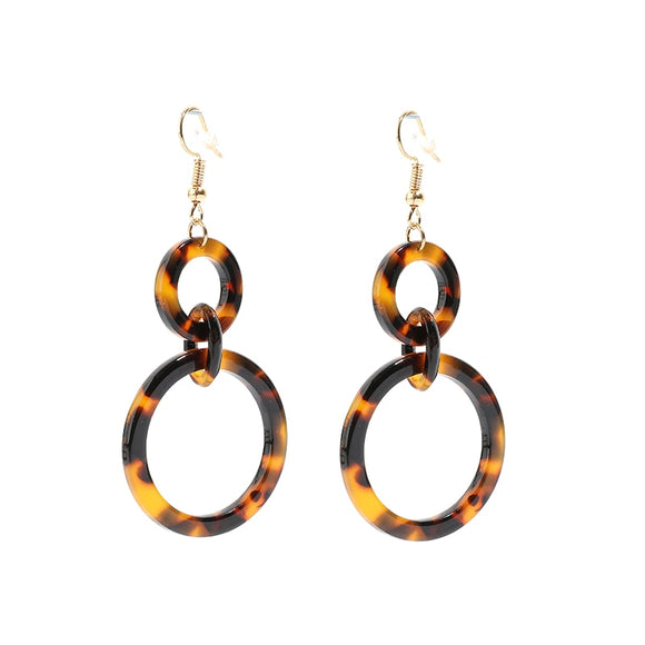 Over-sized Tortoiseshell Dangle Hoop Earrings [GO BIG OR...JUST GO}