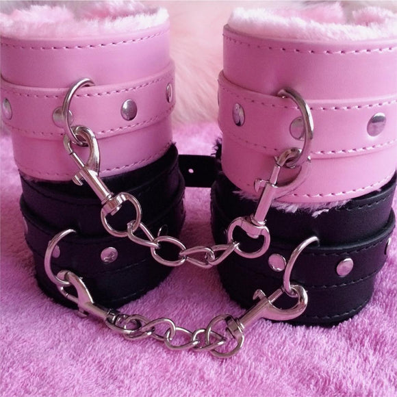 Bondage Handcuffs or Ankle Cuffs w/ Buckle Closure for Adult Fun - Faux Fur and Synthetic Leather