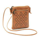 Diamond Shaped Stud Pattern Cross-Body Zippered Concert Satchel