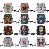 Decorated Skull Canvas Crossbody Shoulder Bag, 12 Styles