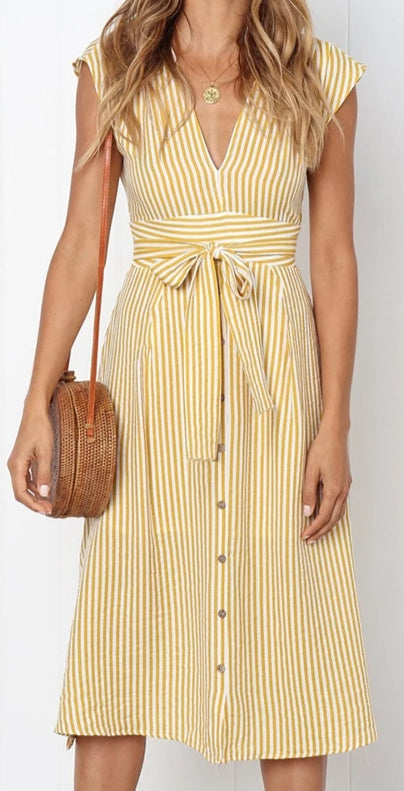 Forget Me Not Sash Tie Midi Dress