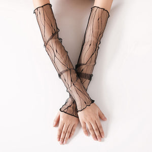 Long Mesh Lace Fingerless Gloves Convertible Sleeves