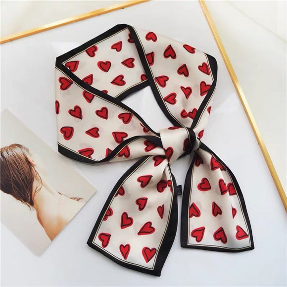 Silky Heart Print Skinny Scarves for Hair, Neck , Handbag Handles