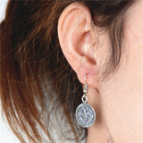 Unique Carved Coin Dangle Earrings