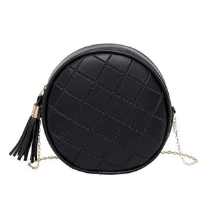 Round Quilted Chain Link Strap Shoulder Bags w/ Tasseled Zipper