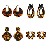 Over-sized Acrylic Statement Tortoiseshell Dangle Earrings