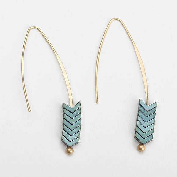 Natural Rock Arrow Drop Hook Earrings