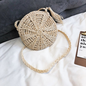 Round, Small and Tasseled Crossbody Basket Purse