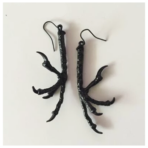 Black Gothic Raven Claw Talon Dangle Earrings