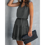 Ruched & Ruffled High Waist V-Neck Cotton Summer Dress w/ Plus Sizes!