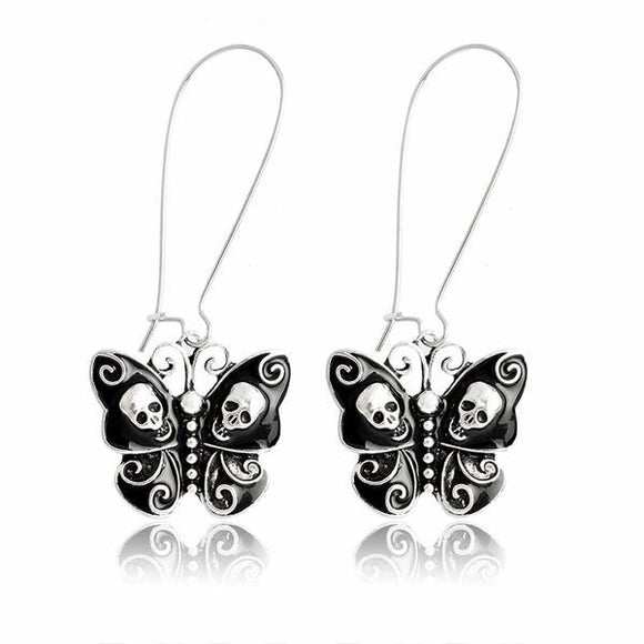 Skull and Butterfly Dangle Wire Earrings