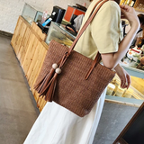 Large Straw and Tassel Fashion Basket Handbag