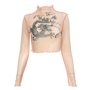 Like a Tattoo See-Through Mesh Crop Top Turtleneck, Long Sleeve