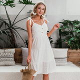 Embroidered White Bow Knot Shoulder Summer Dress