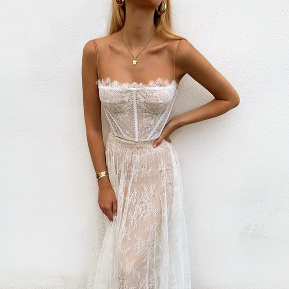 White Lace Corset Maxi Summer Dress