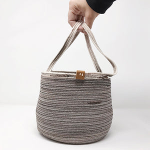 Pewter and Brown Mini Market Tote