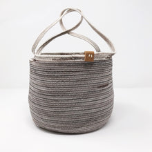 Load image into Gallery viewer, Pewter and Brown Mini Market Tote