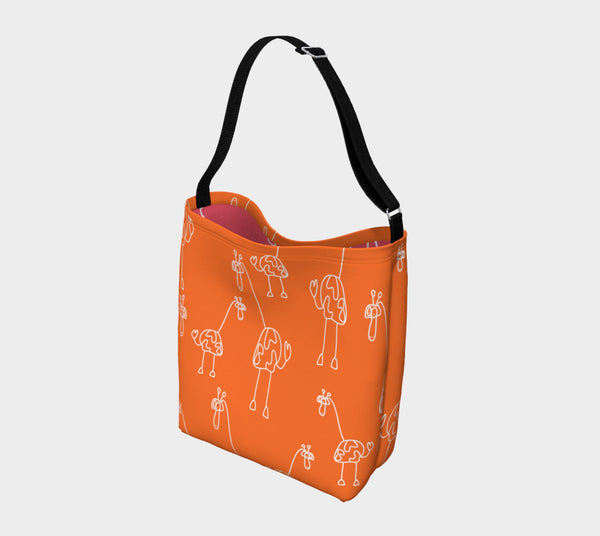 Jungleopia Orange and Raspberry Giraffe Tote