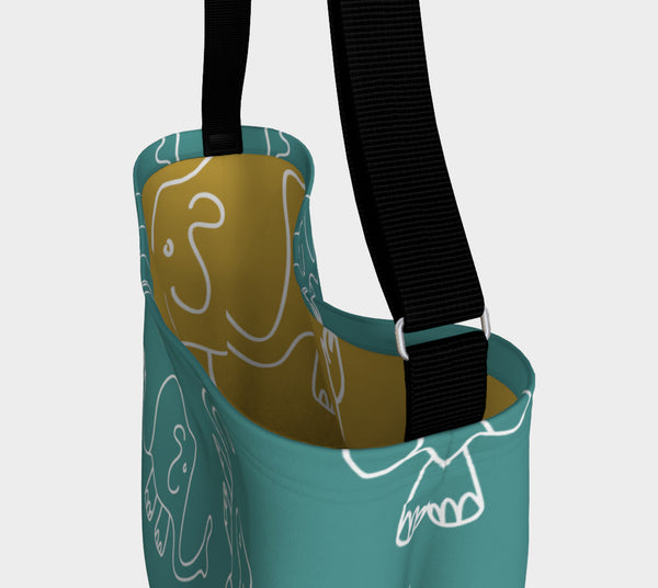 Jungleopia Teal and Dijon Elephant Tote