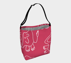 Jungleopia Raspberry and Grey Larger Elephant Tote