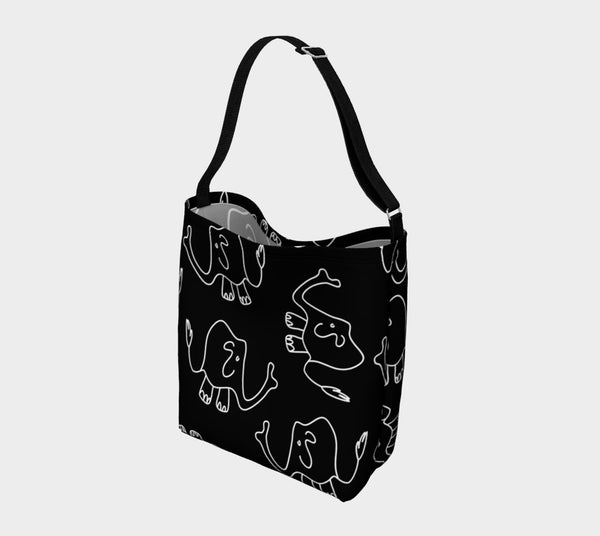 Jungleopia Black and Grey Elephant Tote