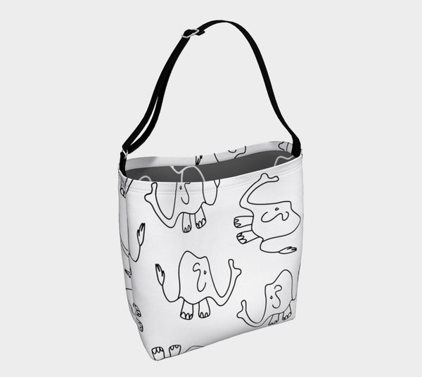 Jungleopia White and Grey Elephant Tote