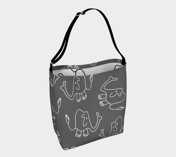 Jungleopia Grey and White Elephant Tote