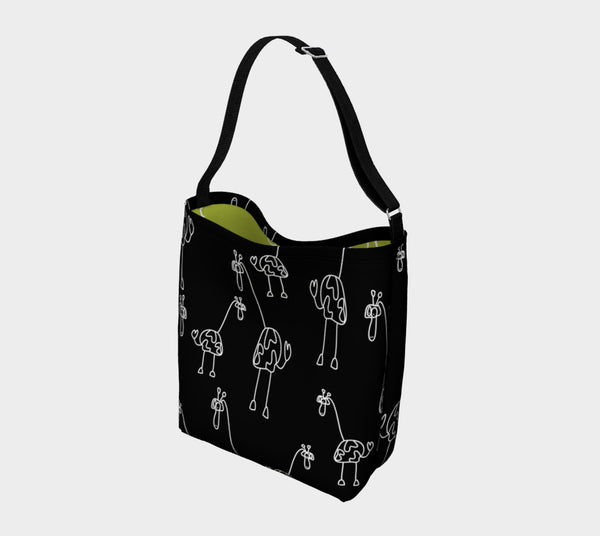 Jungleopia Black and Avocado Giraffe Tote