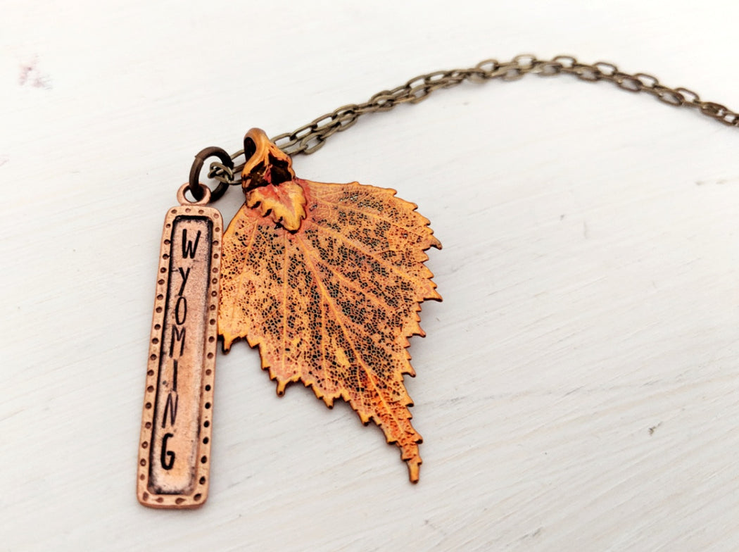 Copper leaf necklace Wyoming Jewelry