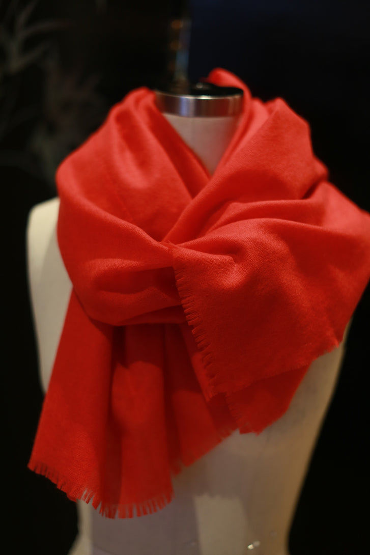 Tissue Weight Cashmere Scarf | Flame