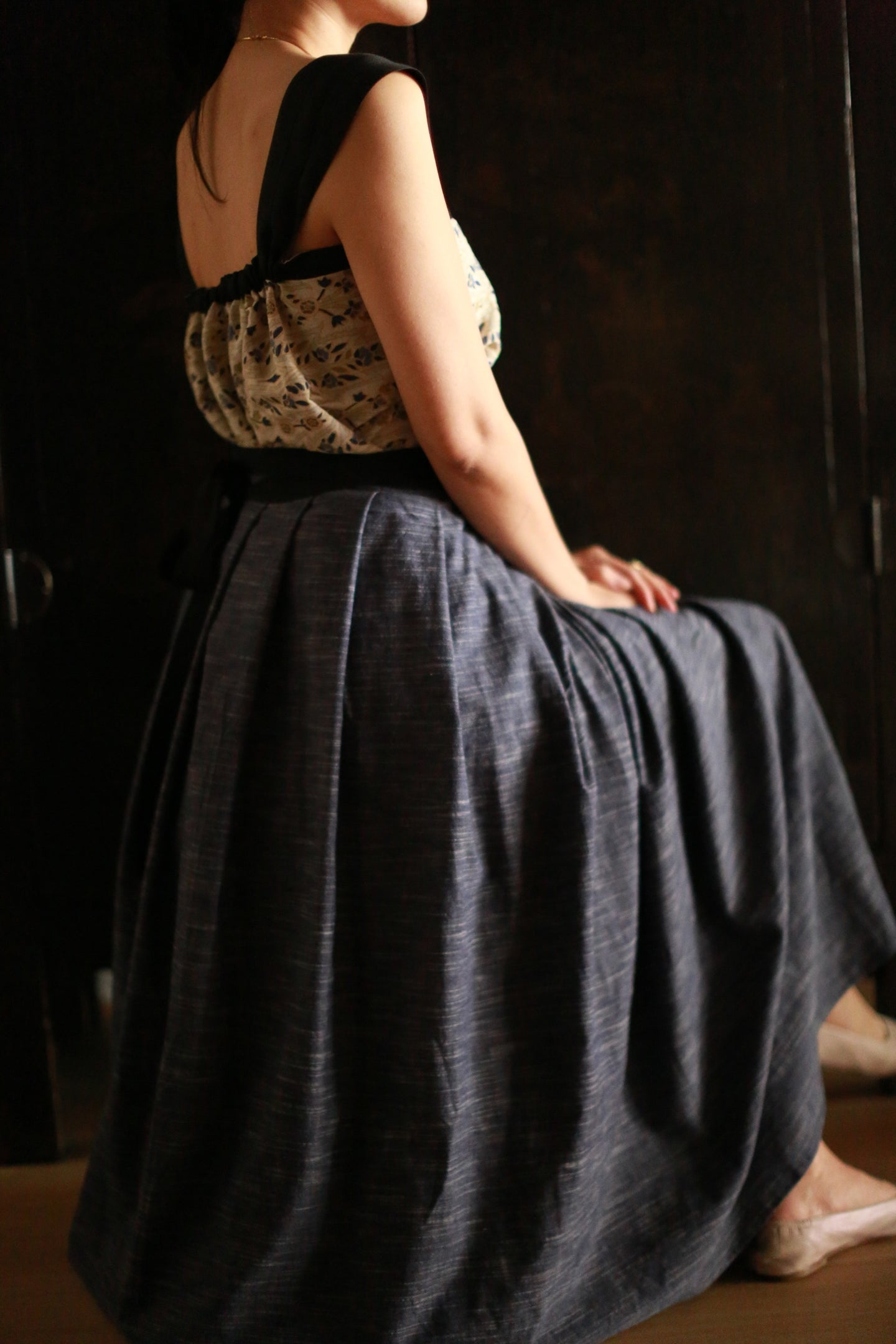 Indigo Pleated Wrap Skirt