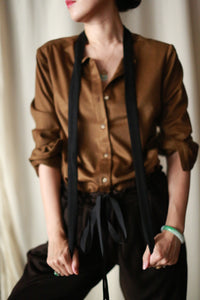 Cashmere Ribbon Shirt | Bronze