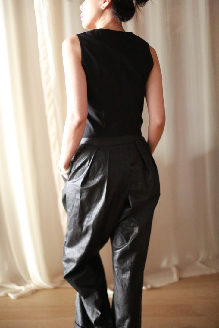 Waxed Linen Lotus Pants