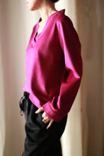 Load image into Gallery viewer, V-Neck Cashmere Pullover | Fuchsia
