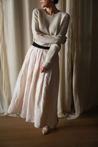 Linen Pleated Wrap Skirt