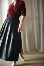 Load image into Gallery viewer, Waxed Linen Pleated Wrap Skirt