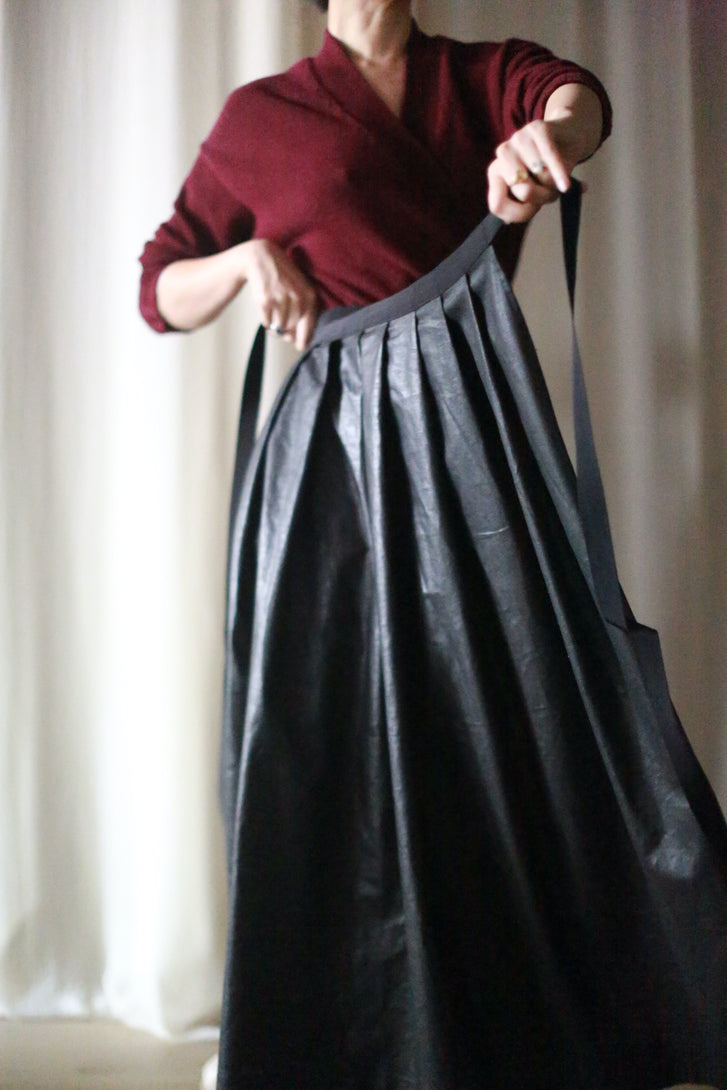 Wax Linen Pleated Wrap Skirt