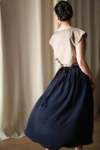 Silk Pleated Wrap Skirt