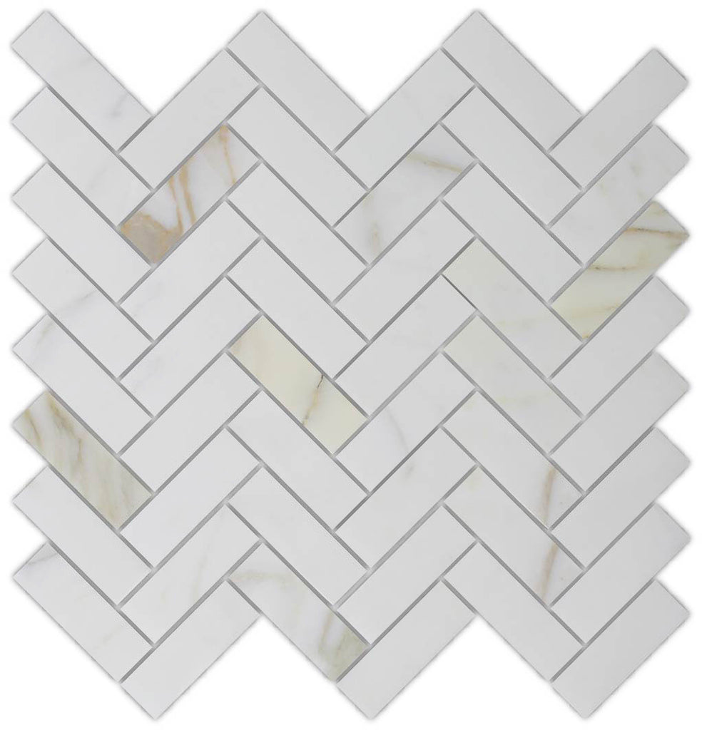 1 x 3 Calacatta Gold Marble Herringbone Mosaic Tiles - Rocky Point Tile - Glass and Mosaic Tile Store